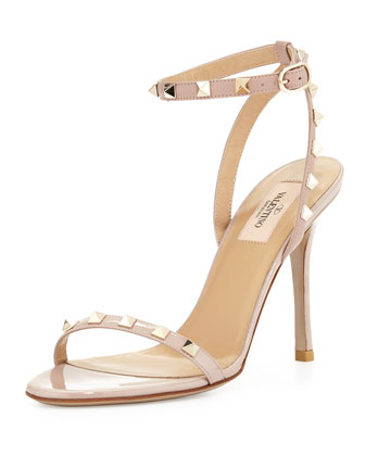 Rockstud Patent Leather Sandal, Powder