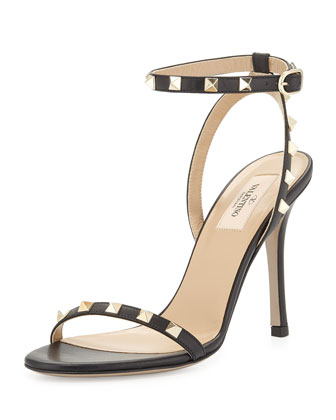 Rockstud Vitello Leather Sandal, Black