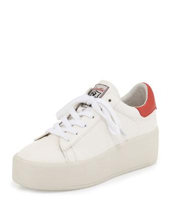 Cult Embossed Leather Platform Sneaker, White
