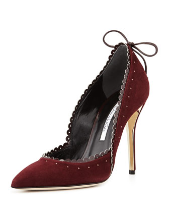 Harpy Scalloped Suede Pump, Bordeaux