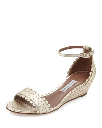 Juniper Metallic Perforated Sandal, Gold