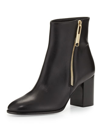 Allen Side-Zip Leather Bootie, Black