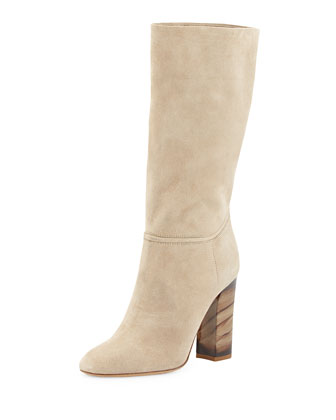 Block-Heel Scrunch Boot, Sandstone