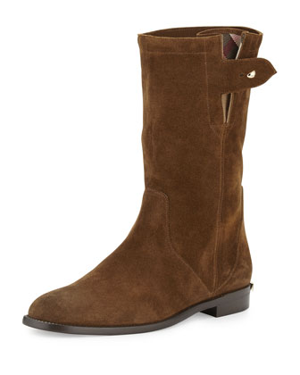 Lyndhurst Suede Flat Boot, Ceylon Brown