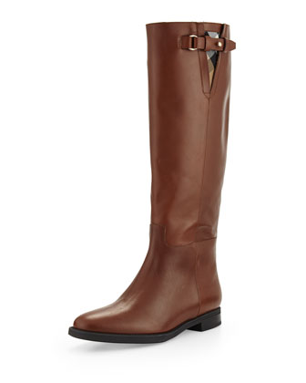 Prorsum Leather Knee Boot, Dark Tan