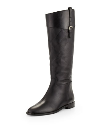 Copse Check-Embossed Leather Boot, Black