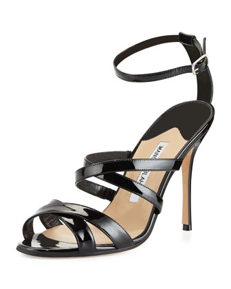 Eremito Patent Leather Strappy Sandal, Black