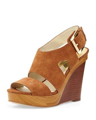 Carla Suede Platform Wedge Sandal, Walnut