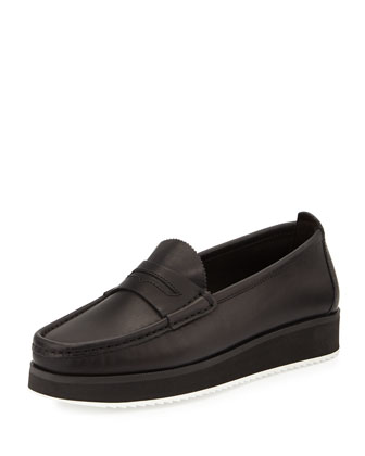 Tanja Leather Platform Loafer, Black
