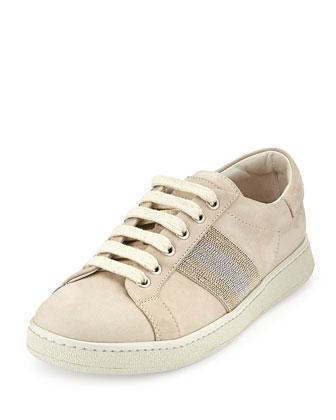 Nubuck Monili Lace-Up Sneaker, Dove