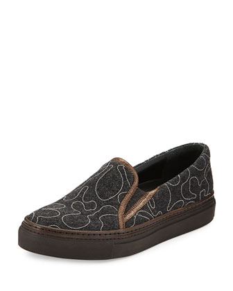 Monili Beaded Flannel Skate Shoe, Volcano