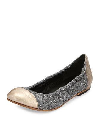 Monili Flannel Cap-Toe Ballerina Flat