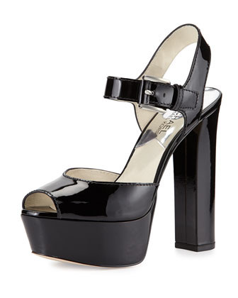 London Patent Platform Sandal, Black