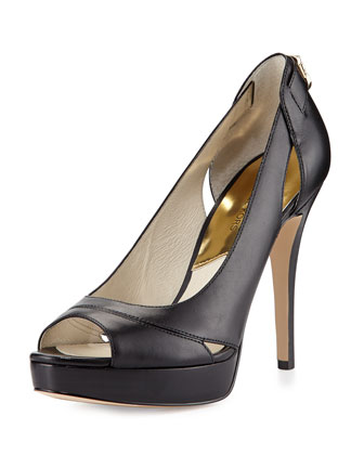Hamilton Leather Open-Toe Pump, Black