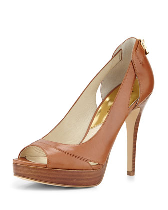 Hamilton Leather Cutout Pump, Luggage