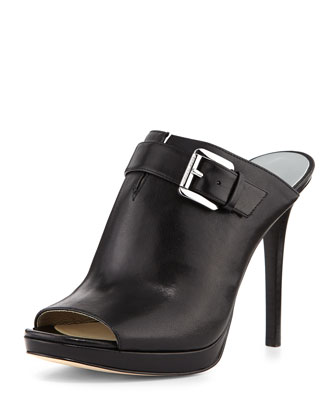 Isabella Leather Mule Pump, Black