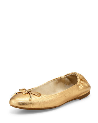 Melody Metallic Leather Ballet Flat, Golden