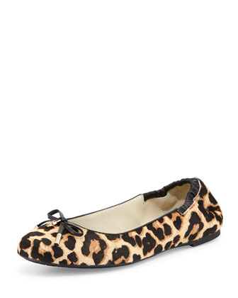 Melody Calf-Hair Ballet Flat, Natural/Leopard