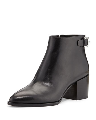 Saylor Leather Ankle Boot, Black
