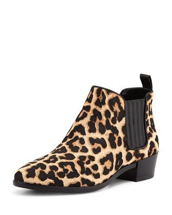 Shaw Calf-Hair Flat Bootie, Leopard/Natural