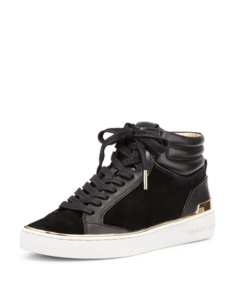 Kyle Leather/Suede High-Top Sneaker, Black