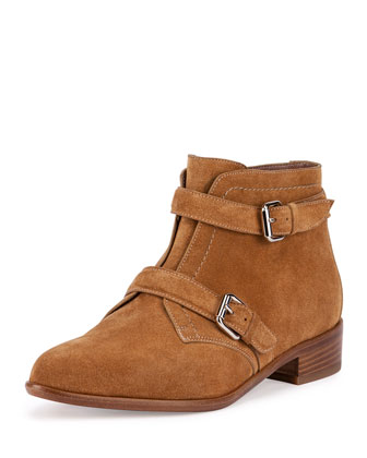 Windle Double-Buckle Suede Ankle Boot, Camel