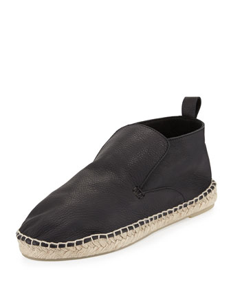 Ronan Slip-On Leather Espadrille, Black