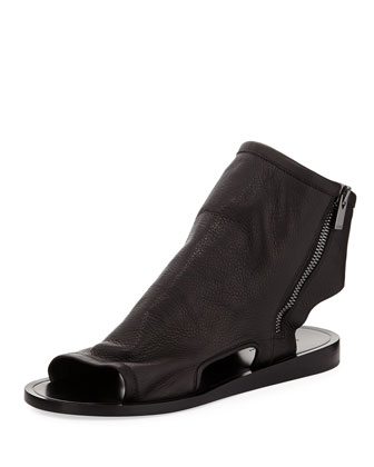 Taylor Peep-Toe Cuffed Leather Sandal, Black