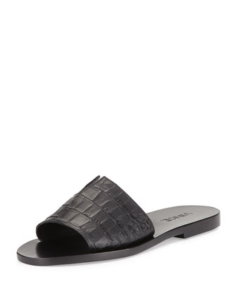 Turner 2 Snake-Embossed Slide Sandal, Black