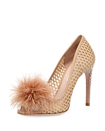 Feather Jeweled-Heel Pump, Nude (Nudo)