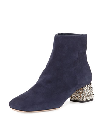 Suede Jeweled-Heel Boot, Overseas (Oltremare)