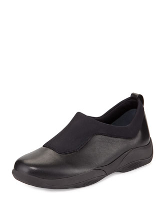 Leather Slip-On Sneaker, Black (Nero)
