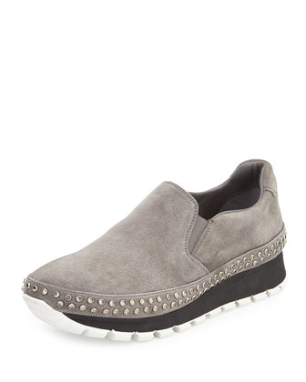 Studded Suede Slip-On Sneaker, Gray