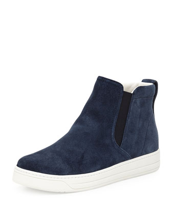 Suede High-Top Slip-On Sneaker, Navy (Oltremare)