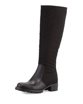 Nylon & Leather Knee Boot, Black (Nero)