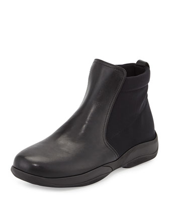 Leather Sport Ankle Boot, Black