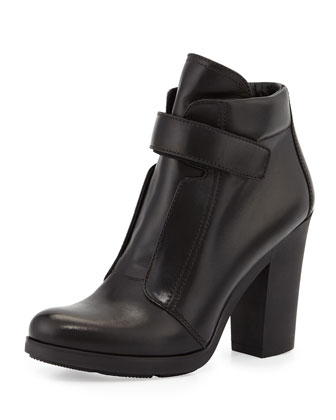 Leather Grip-Strap Ankle Boot, Black