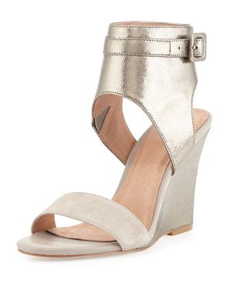 Waylen Ankle-Strap Wedge Sandal, Nude/Gunmetal
