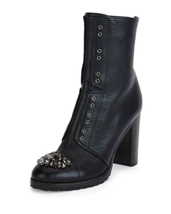Datchet Jeweled Cap-Toe Boot, Black