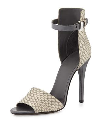 Giustina Snakeskin Ankle-Strap Sandal, Charcoal/White