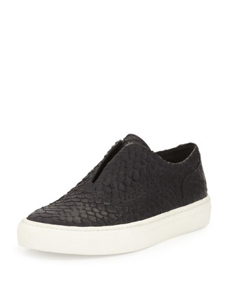 Nelson Python-Embossed Slip-On Sneaker, Black