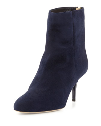 Brody Suede Mid-Heel Ankle Boot, Navy