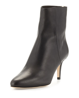 Brody Leather Mid-Heel Ankle Boot, Black