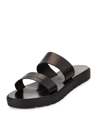 Tulum Two-Band Leather Sandal, Black