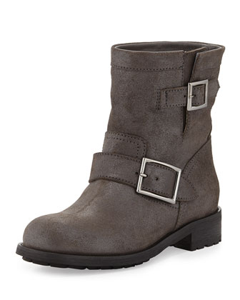 Youth Shimmer Suede Biker Boot, Mist