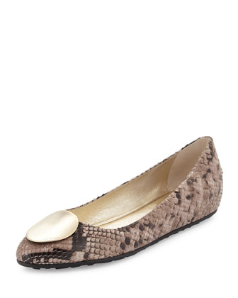 Wray Snake-Print Leather Flat, Ballet Pink