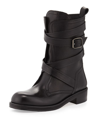 Dalston Wraparound-Strap Leather Boot, Black