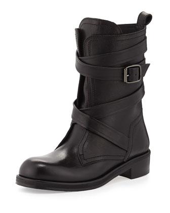 Dalston Wraparound-Strap Leather Boot, Black