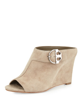 Grant Open-Toe Wedge Mule, Beige