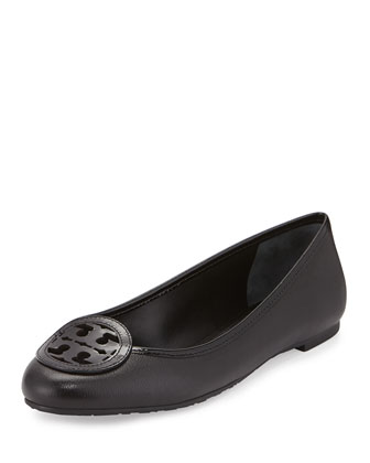 Louisa Leather Logo Flat, Black
